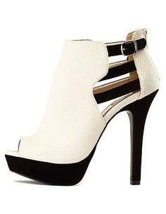 Strappy Cut-Out Peep Toe Booties: Charlotte Russe