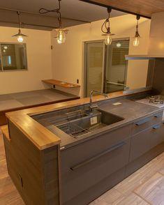 家買いました、奥様の理想を実現するために一番、手間暇かかったキッチン。 #リシェルsi #セラミックトップ #ハイブリッドクォーツシンク #ミンタ #マットグレー #グレーズグレー #造作カウンター #後藤照明 #ハッシュタグ初心者 - @taksy1349 Kitchen Design, Sink, Architecture, Interior, Room, House, Gray, Home Decor, Cooking