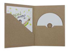CD-DVD-Hülle, m. Tasche u. Schlitz, Kraftkarton, braun