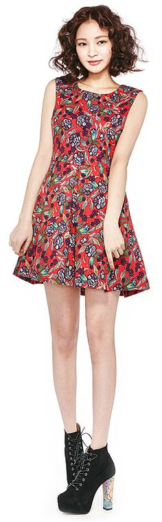 Flower Embroidery Sleeves Dress (2 Colors) | 2014 Spring & Summer | Dolly & Molly | www.dollymolly.com | #women #girly #red #vintage #2014ss #dailystyle #lookbook #ootd #korea #fashion #colorful #blue #cool