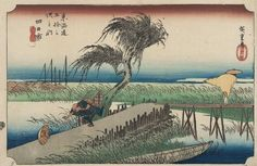 Yokkaichi: Windy Day at the Mie River by Hiroshige from the Hoeido edition of the 53 Stations of the Tokaido series, c.1833-4.