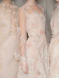Valentino Haute Couture Spring 2012 Three women in flowy dresses white and blush lace appliques Couture Mode, Style Couture, Couture Fashion, Runway Fashion, Wedding Guest Style, Wedding Styles, Beautiful Gowns, Beautiful Outfits, Beautiful Life