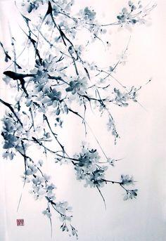 Sakura japanese ink painting large painting,suibokuga,sumi-e brush painting black white paintings rice paper painting Japanese Ink Painting, Sumi E Painting, Large Painting, Chinese Painting, Chinese Art, Watercolor Paintings, Ink Paintings, Chinese Brush, Painting Tattoo