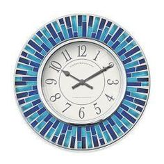One of the best home décor use of accents I have seen.  Easy and great house decorating ideas.  As blue wall art is truly beautiful trendy  and eye catching.  Blue home wall art décor  is also the epitome of classy, stylish and modern.   Truly one the best most pretty blue  decorative accents on Pinterest!      Mosaic Blue Wall Clock in Blue Glass Tiles