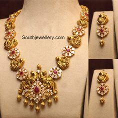 Pachi Peacock Necklace,with flat diamonds pearls rubies and emaralds in 120 grams Indian Jewellery Design, Indian Jewelry, Jewelry Design, Gold Earrings Designs, Necklace Designs, Gold Designs, Pendant Jewelry, Gold Jewelry, Bead Jewellery