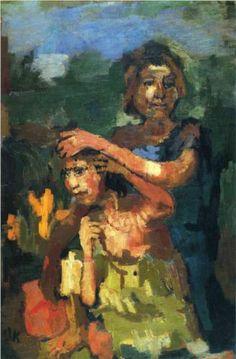 1921 ZWEI MÄDCHEN (TWO GIRLS) by Oskar Kokoschka (Pöchlarn, Austria 1886~1980 Montreux, Switzerland)