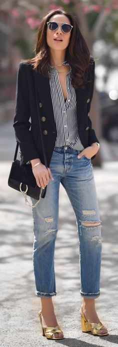 Black Blazer, Striped Button Down, Ripped denim, Golden Sandals | Lucy Whims Source
