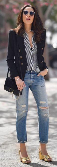 Black Blazer, Striped Button Down, Ripped denim, Golden Sandals  Lucy Whims                                                                             Source
