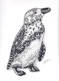 another zentangle penguin Tangle Doodle, Tangle Art, Doodles Zentangles, Zen Doodle, Zentangle Patterns, Doodle Art, Penguin Tattoo, Penguin Art, Penguin Love