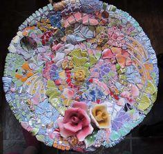 Melissas Motifs Pique Assiette Mosaic Bird Bath, Pre-Grout