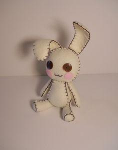 Felt little cream and brown bunny rabbit plush stuffed toy