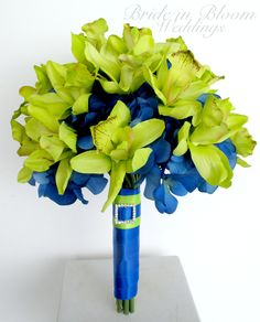 LOVE! Brides bouquet Orchid Wedding bouquet Royal blue lime green Silk wedding flowers. $100.00, via Etsy.