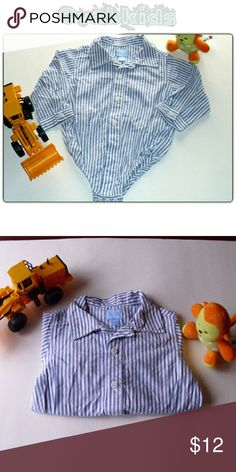 BUTTON DOWN ONESIE! Cute baby blue and white dress shirt long sleeve onesie! Children's Place Shirts & Tops Button Down Shirts