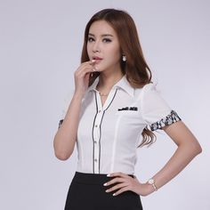 Office Uniform, Uniform Shirts, Yellow Blouse, Summer Shirts, Blouses For Women, Adidas Jacket, Crop Tops, Black And White, Lady