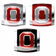 "Teagan Collegiate Collection Bead: Ohio State University Combo set. This bundle contains three Ohio State University Beads:     OSU1 Red O on Gray Bead     OSU2 Gray O on Red Bead     OSU3 Red O on Black Bead  Beads are 925 Silver and Enamel. These are ""Teagan"" beads and they are compatible with Pandora, Biagi, Zable, Brighton, Troll and many other European style bracelets."