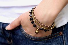XtraVirgin @ Etsy - Jet Black Stone and Brass Multi-strand Bracelet