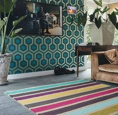 Estella Vogue rugs by Brink and Campman are highly inspirational with a stunning striped design in teal, purple, fuchsia, duck egg and blue colours on a taupe background. #InteriorDesign #Design