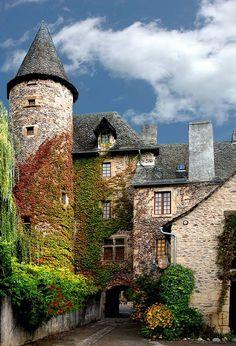 Sainte-Eulalie d'Olt, a blossomed medieval village, France
