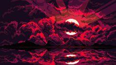 HD wallpaper: pixel art, clouds, Moon, reflection, dark background