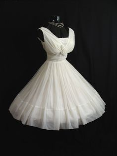White Chiffon Party Dress over Hoop, 1950s.