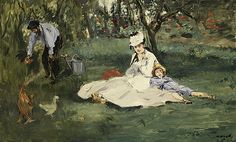 The Monet Family in Their Garden at Argenteuil, 1874 Édouard Manet (French, Oil on canvas 24 x 39 in. x cm) Signed (lower right): Manet Bequest of Joan Whitney Payson, 1975 Claude Monet, Edouard Manet Paintings, Monet Paintings, Post Impressionism, Impressionist Paintings, Renoir, Monet To Matisse, Oil Painting Reproductions, Oeuvre D'art