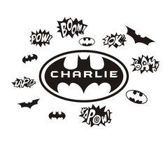 DIY Custom personalize name Cartoon Batman Wall Stickers home Art Quote adhesive Vinyl decals House Children bedroom decoration