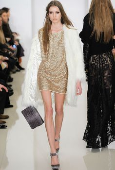 I love these sequin shifts I am seeing everywhere: here looking luxe paired with white fur from Rachel Zoe's Fall 2012 collection.