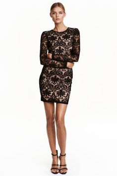 Lace dress: Short, fitted lace dress with long sleeves, a cut-out section at the back and button at the back of the neck. Lined.