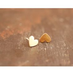 This heart shaped studs are so sweet! These are the perfect go-to everyday earrings. They are small, subtle, perfect for day-to-day wear or a second piercing. Great for any age. The hearts are brass while the posts and earring backs are sterling silver. Stud Earrings measure a little over a 1/4 inch across.