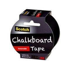 "Scotch Chalkboard Tape, 1.88"" x 5 yd, Black:      Just cut, peel and stick     Write-on with chalk     Erase with a tissue, cloth or chalk eraser     Black removable tape is excellent for crafting, decorating and labeling"