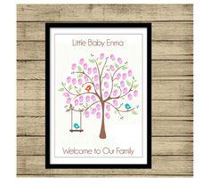 Baby Shower Printable Thumbprint Tree Guest Book P de By Yolanda por DaWanda.com