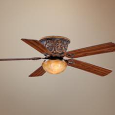 "52"" Vaxcel Corazon Aged Bronze Hugger Ceiling Fan"