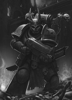 bolter chainsword chaos monochrome night_lords space_marines voidborne