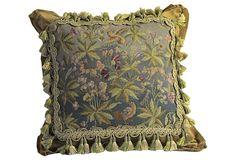 Green Floral Needlepoint Pillow on OneKingsLane.com