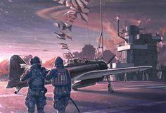 Portaaviones Akagi, con sus aviones en cubierta al amanecer