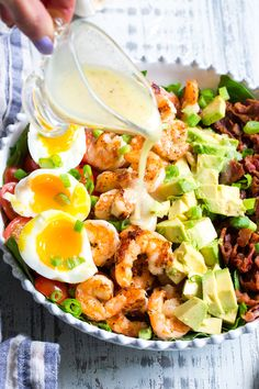 Perfectly seasoned grilled shrimp with crispy bacon, tomatoes, avocado and soft boiled eggs makes the best healthy, BBQ ready Cobb salad for summer! It's tossed in an easy lemon garlic vinaigrette wit Avocado Recipes, Lunch Recipes, Seafood Recipes, Low Carb Recipes, Whole Food Recipes, Cooking Recipes, Healthy Recipes, Salad Recipes For Dinner, Dinner Salads