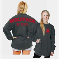 NC State Wolfpack Women's Charcoal Sweeper Ra Ra Football Long Sleeve T-Shirt