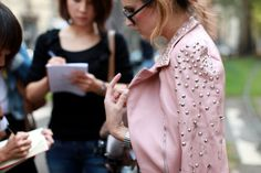 Pink leather jacket, Milan Fashion Week