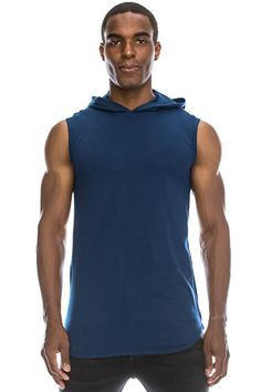 Longline Tanktop w/ Side Zippers Sleeveless Hoodie Jacket (Big Size up to 6XL) Navy