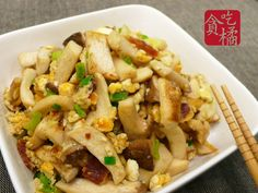 鹹蛋杏鮑菇  ♡愛吃菇12♡ Stir fried mushrooms with salted egg & lap cheong