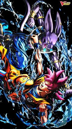 SSJG Goku Vs Beerus - I love the colouring of this art. Hopefully we can see Beerus and Whis actually fighting a strong opponent, along with all the other Z warriors. - Visit now for 3D Dragon Ball Z shirts now on sale!
