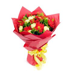 Online 12 Red Gerbera & Yellow Carnations in a Beautiful Bouquet to Philippines Online Flower Shop, Flowers Online, Yellow Carnations, Carnation Bouquet, Red Paper, Send Flowers, Bride Bouquets, Floral Arrangements, Ribbon