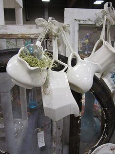 White ironstone pitchers.