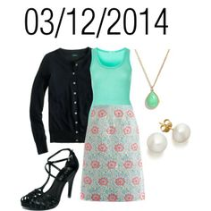 """Mint & Black: Wednesday, March 12, 2014"" by josiegirl77 on Polyvore"