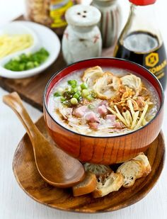 My moms chicken congee recipe my favorite kind of chinese rice this ham rice congee recipe is perfect for leftover easter ham forumfinder Choice Image
