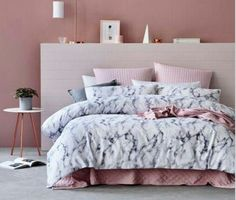 Adairs marble bedding and pink under blanket. purchased