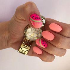 Make an original manicure for Valentine's Day - My Nails Cute Nail Art, Cute Nails, Pretty Nails, Pedicure Designs, Nail Art Designs, Uñas Color Neon, Hair And Nails, My Nails, Watermelon Nails