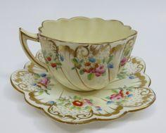 Antique CHAPMAN & Sons ~ Scalloped Edge Porcelain Cup & Saucer ENGLAND 1889-1906 picclick.com
