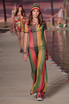 Tommy Hilfiger Women's - Runway - NYFW Spring '16: A model walks the runway wearing Tommy Hilfiger Women's Spring 2016 during New York Fashion Week: The Shows at Pier 36 on September 14, 2015 in New York City.