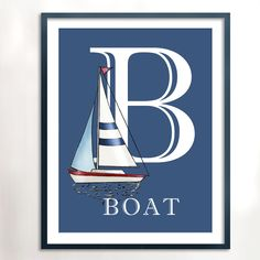B is for Boat 8x10 Art Print Nautical Art by PebblesPrints